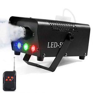 Machine à fumée avec télécommande sans fil & LED lumière colorée, 500W facilement transportable et resistante. Idéal pour Halloween, Noël, mariages, spectacles sur scène etc