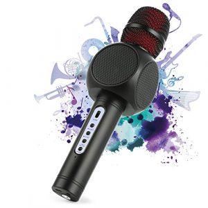 Microphone Sans Fil Karaoké avec 2 Haut-Parleur Bluetooth Intégré, Karaoké Portable pour Chanter, Compatible avec Android/IOS/PC/Smartphone (Black)
