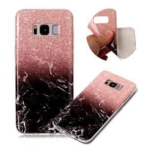 Moiky Marbre Matte Coque pour Galaxy S8,Souple Housse pour Galaxy S8, élégant Creatif Rose Noir Marbre Motif Ultra Mince Flexible Gel TPU Antichoc Étui de Protection