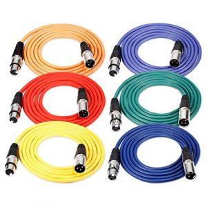 Neewer 6 Pièces 6,5 pieds/2m Câble pour Microphone XLR Male à XLR Femelle de Peau en Caoutchouc Cordon de Serpent Equilibré de 6 Couleurs(Vert Bleu Violet Rouge Jaune et Orange)