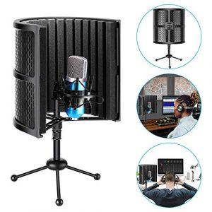 Neewer Ecran Anti-vent d'Isolation pour Microphone de Table avec Trépied, Mousse Absorbeur Acoustique pour Enregistrements (Porte-Microphone et Support Antichoc NON Inclus)