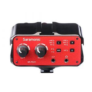 Saramonic SR-PAX1 Audio Mixer Adaptateur de micro-préampli à 2 canaux avec double entrée XLR / 6.3mm / 3.5mm + 3.5mm Sortie pour iPhone 7 7 plus 6 6s Appareil photo reflex numérique