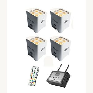 Chauvet DJ Freedom Par Hex-4 LED Blanc 4-Pack avec FlareCON Air Wireless Bundle émetteur
