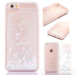 Coque iPhone 6 Plus Liquide Sables Mouvant,3d Bling Glitter Paillettes Coque pour iPhone 6 Plus/6S Plus Etui Bumper Bord + Plastique Rigide Dure Hard Étui de Protection Sparkle Briller Flux Flocon De Neige Liquide Quicksands Housse,Cristal Clair Coque Transparent Motif Coquille Couvercle Cover Case pour Apple iPhone 6 Plus/6S Plus 5.5″,Blanc