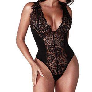HucodeVan Lingerie Sexy Femme Erotique,Mode Sexy Dentelle Vêtements De Nuit Lingerie Tentation Babydoll sous-Vêtements Combinaison Lingerie Sexy Femme