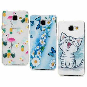 Lanveni Lot de 3 Coque pour Samsung Galaxy A5 2016, Soft Housse étui de Protection en TPU Souple Silicone Transparent Slim Antichoc Ultra-Thin Fine Mince Premium léger – Papillon Amour