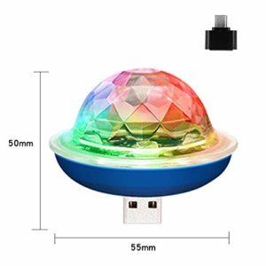 MINGRONG La Mini Lampe de Boule de Disco de la lumière DJ d'étape d'USB, scène Magique en Cristal de Boule Allume la Disco colorée de RVB de Stroboscope menée pour des décorations de Karaoke