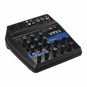 Muslady S-1 Console de mixage BT portable 4 voies Console de mixage audio numérique Effets de réverbération intégrés + Alimentation fantôme 48 V EQ 2 bandes CC Alimentation 5-12 V
