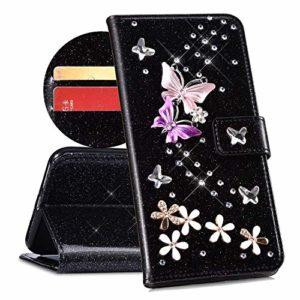 QPOLLY Compatible avec Coque Huawei Y6 2019 Bling Glitter 3D Diamant Portefeuille Housse à Rabat en Cuir Luxe Brillant Paillette Sparkle Étui de Protection avec Fentes de Cartes et Fonction Stand,Noir