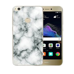 ZXLZKQ pour Huawei P8 Lite 2017 Cover , Transparent Housse Soft TPU Silicone Case Protecteur Naturel Marbre motif Noir Blanc Coque pour Huawei P8 Lite 2017 (non applicable Huawei P8 Lite 2016)