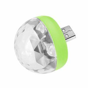CARDMOE Mini Lampe de scène Portable USB Disco Light Magic Ball Light Changing de Couleur USB, lumière stroboscopique, Boule rotative Magique à Paillettes