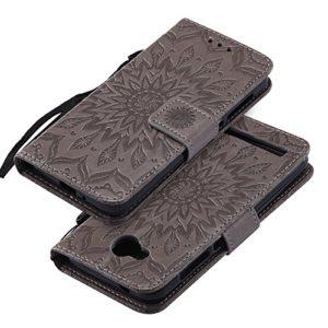 EINFFHO Coque Huawei Y3 II, Gaufrage Fleurs Coque en Cuir avec Souple Silicone Portefeuille Leather Folio Flip Housse Étui pour Huawei Y3 II Wallet Pouch Case Cover, Gris
