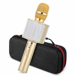 Micro pour Karaoké, Mbuynow Microphone Enfant pour Chanter sans Fil Bluetooth 4.2 avec Technologie TWS et Bâton de Selfie compatible avec Android/IOS/iPad/Sony/PC/Smartphone pour KTV Or