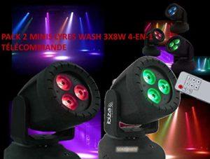 PACK 2 MINIS LYRES LED WASH 3 X 8W RGBW 4-EN-1/ rouge-vert-bleu-blanc 4-en-1 / LÉGÈRE ET COMPACTE/PROJECTEUR LED/TÉLÉCOMMANDE/IDÉAL PETITE SOIRÉE/KARAOKÉ ANIMATIONS MAGASINS DJ LIGHT