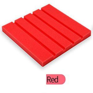 STRIR Panneau de mousse pyramidale pour isolation acoustique de 25x 25x 2cm rouge