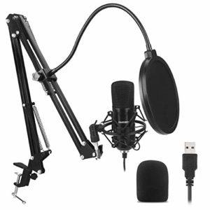 ZAFFIRO Kit Microphone USB, Microphone à condensateur Microphone pour Ordinateur de Bureau cardioïde Plug & Play, Enregistrement pour podcasting, Diffusion en Direct, Jeux ou bavardage, Noir