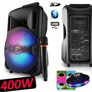 Enceinte Mobile Party Karaoké Dj Sono PA Batterie 8″ 400W à LEDs RVB USB/SD/BT + Micro VHF MyDJ Djoon08 + Ovni