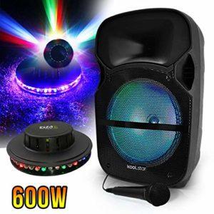 Enceinte Sono Karaoké à LEDs RVB 12″/31cm 600W – USB/BT/SD + Microphone + effet OVNI