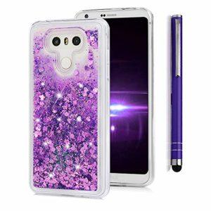 Lanveni Lot de 3 Coque pour LG G6, Soft Housse Liquid Sand Glitter étui de Protection en TPU Case Souple Silicone Transparent Slim Doux Antichoc Ultra-Thin Fine Mince Premium léger – Violet