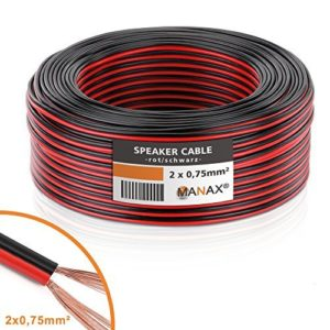 MANAX Câble de Haut-Parleur Câble de Haut-Parleur Rouge/Noir 2x 0,75mm², CCA Rouleau de 50m