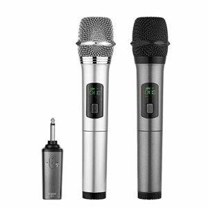 Micro sans fil Karaoké 2 Microphone UHF 10 Canaux avec 1 Récepteur bluetooth (batterie au lithium intégrée)+2 Connecteur de 6.35 et 3.55 Micro HF à Main Dynamiques Portable Karaoké