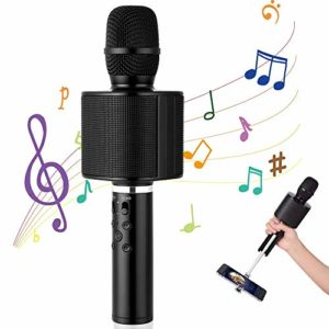 Microphone sans Fil, Mbuynow Microphone Karaoke sans Fil Bluetooth avec Technologie TWS, compatible avec Android/IOS/iPad/Sony/PC/Smartphone pour KTV Fête à la Maison (Noir)