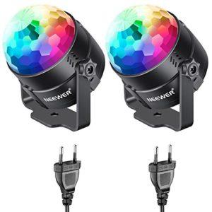 Neewer 2-Pack Mini LED Lumière Lampe de Scène Boule Disco, RGB 7 Couleurs Strobe Lumière Boule Disco DJ Lampe pour Noël Halloween Fête KTV à Domicile Bistrot Club Party Mariage Soirée