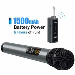 TONOR Microphone sans Fil Bluetooth 10 Canaux UHF avec Mini Récepteur Karaoké Chant Compatible Haut-parleur Ordinateur Portable Télévision IPad pour Mariage/Église/Scène/Fête/Activité Noir