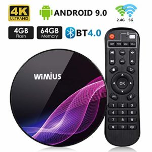 TV Box Android 9.0, Bluetooth 4.0 Box TV 4K Ultra HD [4G RAM+64G ROM] WiMiUS K1 Pro Boîtier TV Dual WiFi 2.4G/5G/ LAN 100Mbps/ Amlogic S905X2/ H.265 64Bit/ USB 3.0 [2019 Dernière Version]