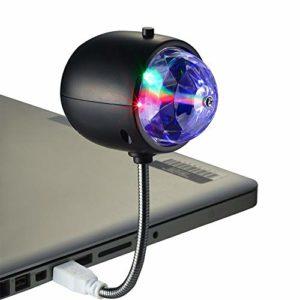 Ysoom Mini Boule Disco lumière Disco Party lumière de scène 2 en 1 3W (RGB), 1W (lumière) pour Noël, Anniversaire, fête