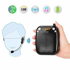 Amplificateur de voix sans fil 10W,SHIDU haut-parleur rechargeable d'amplificateur de voix personnel avec casque micro sans fil UHF pour enseignants, chant, guides touristiques, à l'extérieur, coach