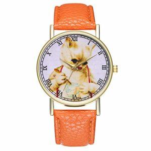 COOKDATE Montre à quartz analogique pour femme avec bracelet en cuir Argenté/noir/doré/or rose/blanc p513OROrange