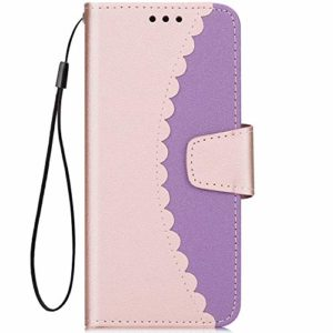 Hpory Compatible avec Samsung Galaxy A8 2018 Housse Coque à Rabat Portefeuille Etui en PU Cuir Cover avec Support Stitching Color Housse Etui Folio Flip Magnetic Wallet Case,Or Rose+Violet