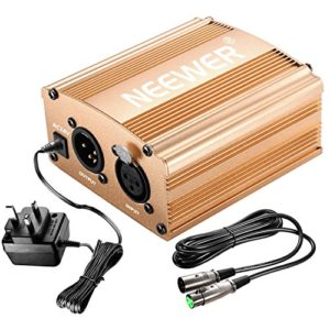 Neewer 1- Canal 48V Alimentation Fantôme Argenté avec Adaptateur et Un XLR Câble Audio