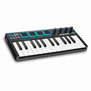 Alesis V-Mini – Clavier Maître USB-MIDI Portable, 25 Touches, 4 Pads de Percussion Sensibles Rétroéclairés, 4 Encodeurs Assignables, et Suite de Logiciels Professionnels avec ProTools | First Incluse