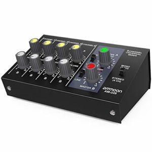 ammoon Mixeur Ultra Compact à Faible Bruit 8 Canaux Métal Mono Mixeur Audio Avec Câble Adaptateur Secteur