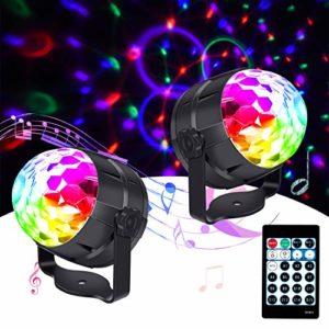 Boule Disco, 2 Pack Boule à Facettes Disco Lampe d'ambiance Lampe de Scène Éclairage LED pour Fête, Soirée, Bar, Anniversair