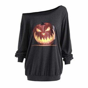 Pull à Capuche Liusdh pour Femme – Style Halloween – Motif Citrouille – Manches Longues – Chemisier – Gris – S