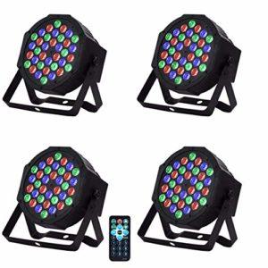 4PC 36W Lumière de Scène Par Projecteur DMX 512 36LED RGBW Commande Sonore avec Télécommande Fête Disco DJ Club Sound Auto Stroboscope Mode Soirée Anniversaire Mariage 220V