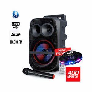 Enceinte Mobile 400W SONO DJ High Power Autonome sur Batterie LED RVB sur Batterie – USB/SD/BT/FM + Micro VHF + Jeu UFO Ovni