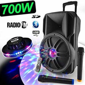Enceinte Sono Dj PA Mobile PARTY KARAOKE MyDJ Batterie 12» 700W Effet Friztal LED + OVNI USB/SD/BT/RADIO FM/PC + 2 Micros VHF