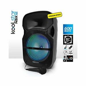 Enceinte Sono Karaoké à LEDs RVB 12″/31cm 600W – USB/BT/SD + Microphone – Koolstar NSX12
