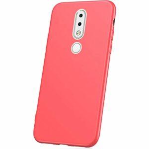 JAWSEU Coque Nokia 6.1 Plus,Etui Nokia 6.1 Plus Silicone TPU Ultra Mince 360 Degrés Flexible Silicone Souple Gel Housse de Protection Full Protection Antichoc Bumper Case Coque,Rouge
