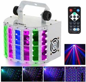 Lyre Led, Lixada RGBW disco eclairage soiree,100-240V 7 Canaux, Vocale commande/Contrôle automatique/Réglage de la vitesse/Flash stroboscopique/DMX 512, contrôlé par télécommande(24W)