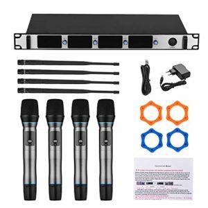 Muslady Système de microphone sans fil Micro sans fil UHF à 4 canaux avec 4 microphones de poche et 1 récepteur pour montage en rack pour réunion de karaoké Discours Mariage