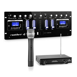 Resident dj DJ405USB-BK Table mixage – 4 canaux Set micro sans fil VHF 1 canal , 2 interfaces Bluetooth , 2 ports USB , 2 emplacements SD , 1 set de microphone sans fil VHF 1 canal , Port écouteurs