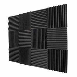 SODIAL Paquet de 12 – Panneaux insonorisants d'eponge d'ingenierie de mousse de panneaux acoustiques 1 pouce x 12 pouces x 12inch