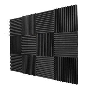 TOOGOO Paquet de 12 – Panneaux insonorisants d'eponge d'ingenierie de mousse de panneaux acoustiques 1 pouce x 12 pouces x 12inch