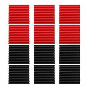 Baugger Panneaux Acoustiques en Mousse Isolant Phonique en Mousse Coin Vidéo Mousse Studio D'Enregistrement Studio Insonorisation Insonorisation du Mur en Éponge – 6Pcs Noir + 6Pcs Rouge