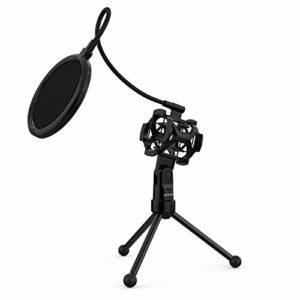 ammoon Trépied Support de Microphone pour Bureau et Table Mini Pliable Noir MS-12